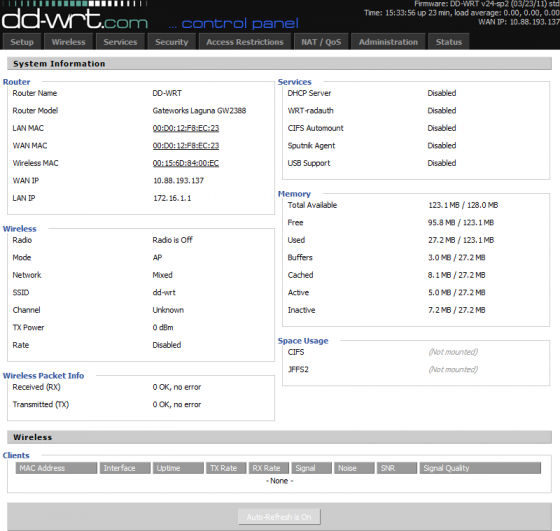 DD-WRT Demo Screenshot (Bild: Screenshot dd-wrt.com/demo/)