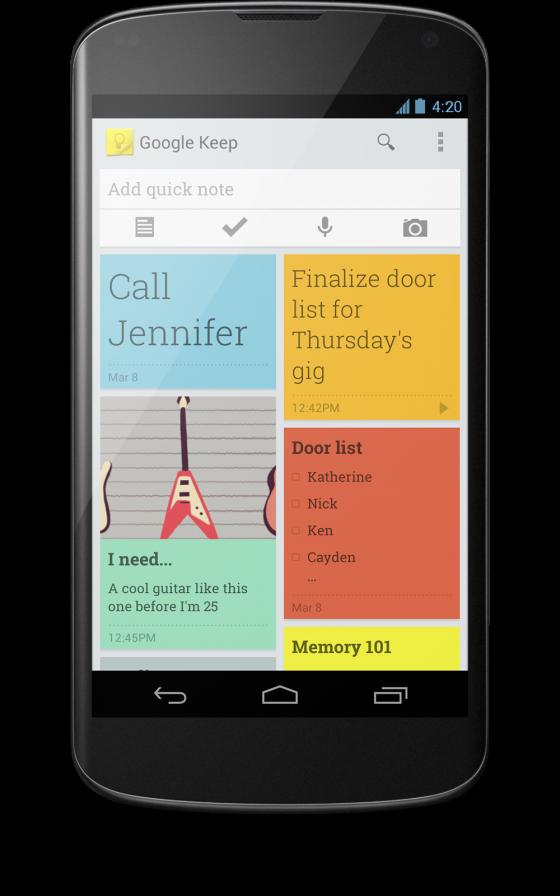 Google Keep gibt es für Android-Geräte. (Bild: Google)