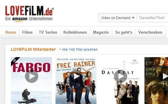 It starts with LOVEFiLM. ( Image: Screenshot lovefilm.de)
