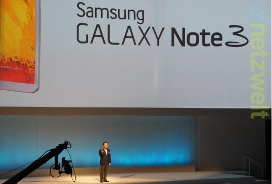 Samsung Mobile-Chef JK Shin präsentiert im Berliner Tempodrom das Galaxy Note 3. (Bild: netzwelt)