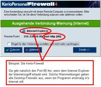 Beispiel einer Desktop-Firewall