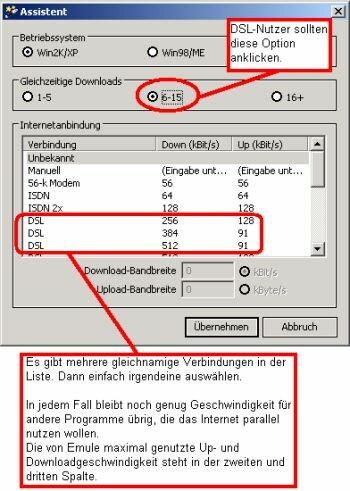Verbindungsart und Betriebssystem einstellen