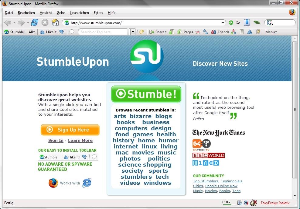 StumbleUpon Startseite