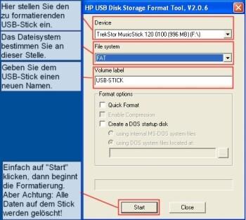 Den USB-Stick formatieren