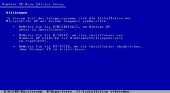 Die installation von XP