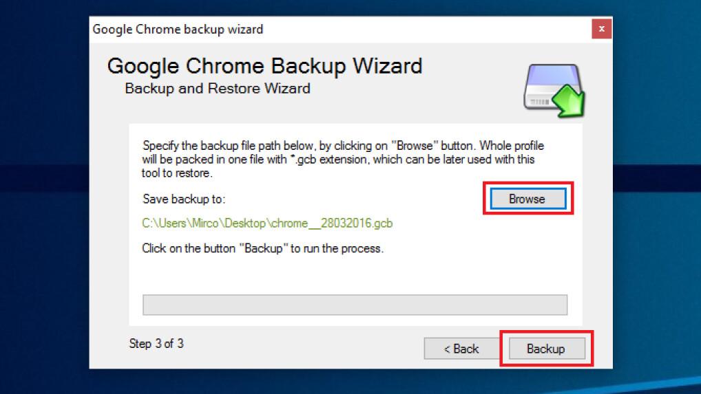 Chrome Daten Sichern