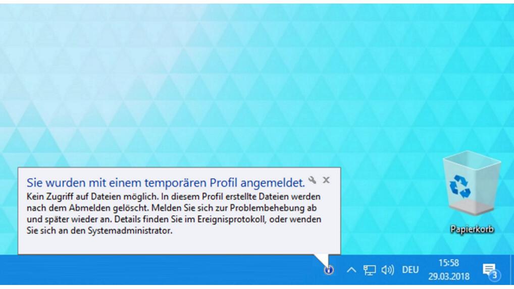 Temporäres Profil Windows 10