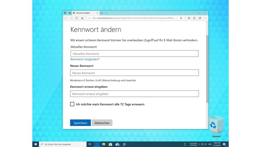 Outlook neues passwort eingeben