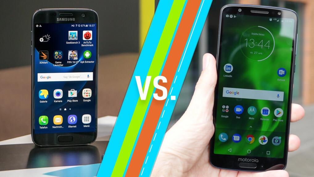 Samsung Galaxy S7 vs  Motorola Moto G6: smartphones in