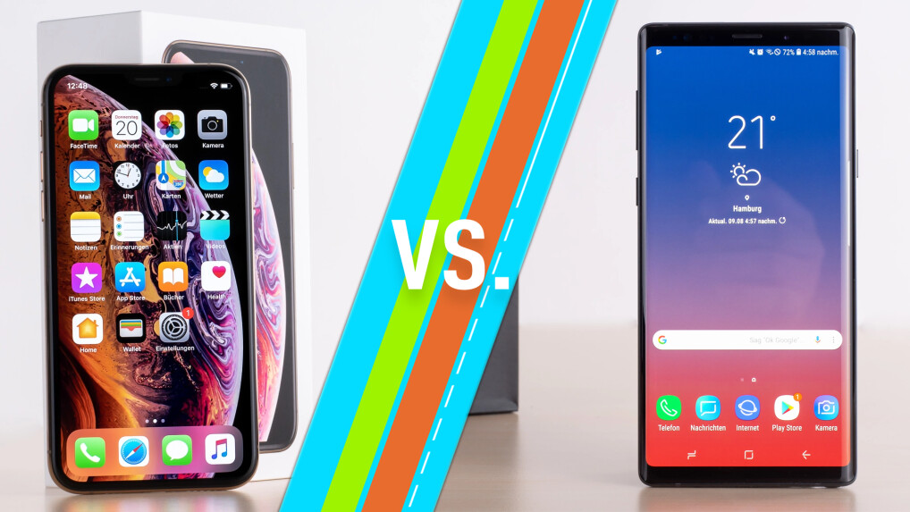 Apple Iphone Xs Vs Samsung Galaxy Note 9 Smartphones Im Vergleich