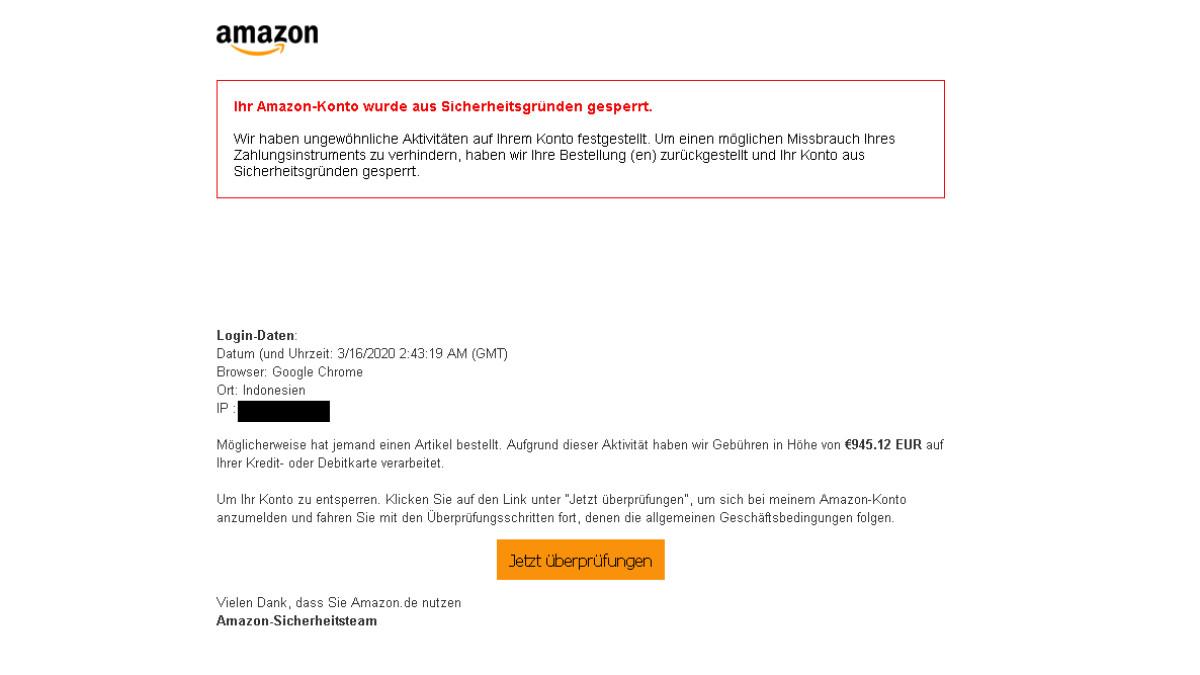Amazon Sicherheitsalarm Mail