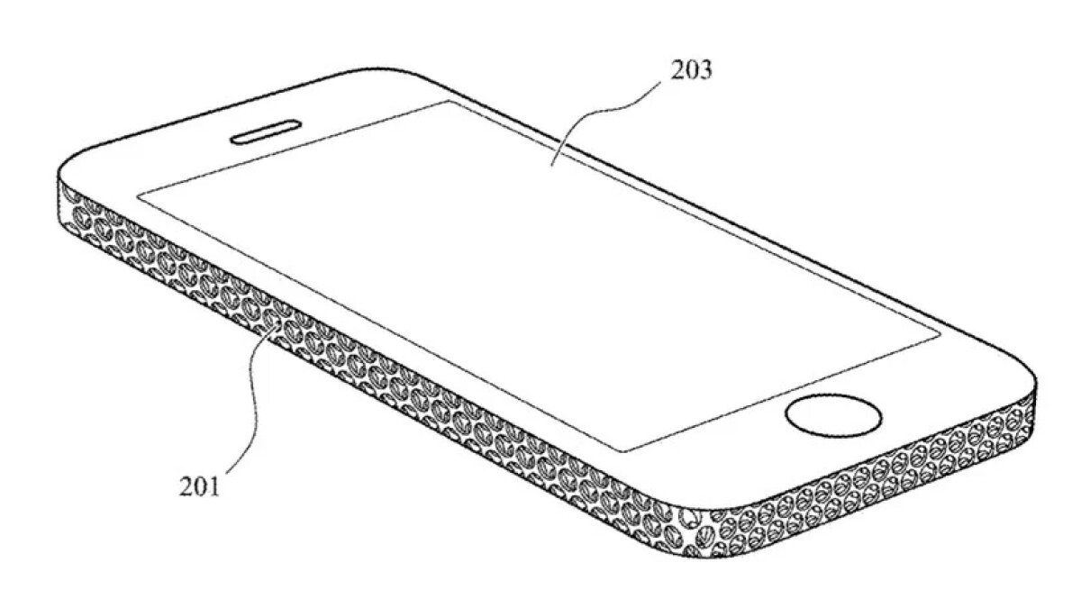 An iPhone with a new, perforated case that helps with cooling.