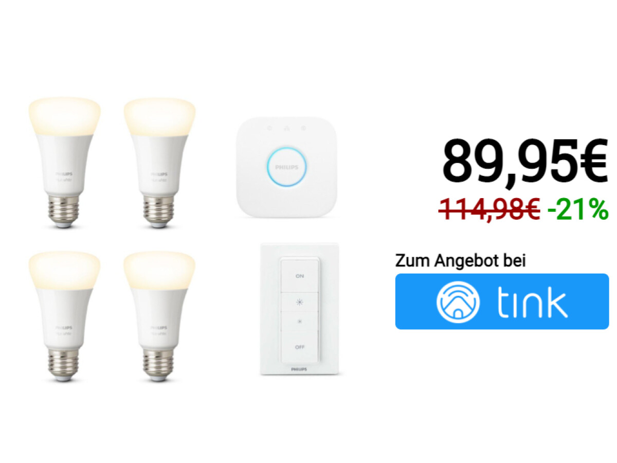Philips Hue White E27 Bluetooth Starter Kit + gratis White E27 Bluetooth Lampe