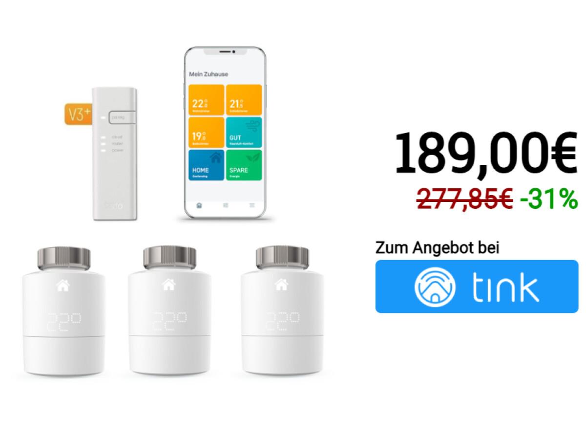 Tado Smartes Heizkörper-Thermostat Starter Kit V3+ mit 3 Thermostaten & Bridge