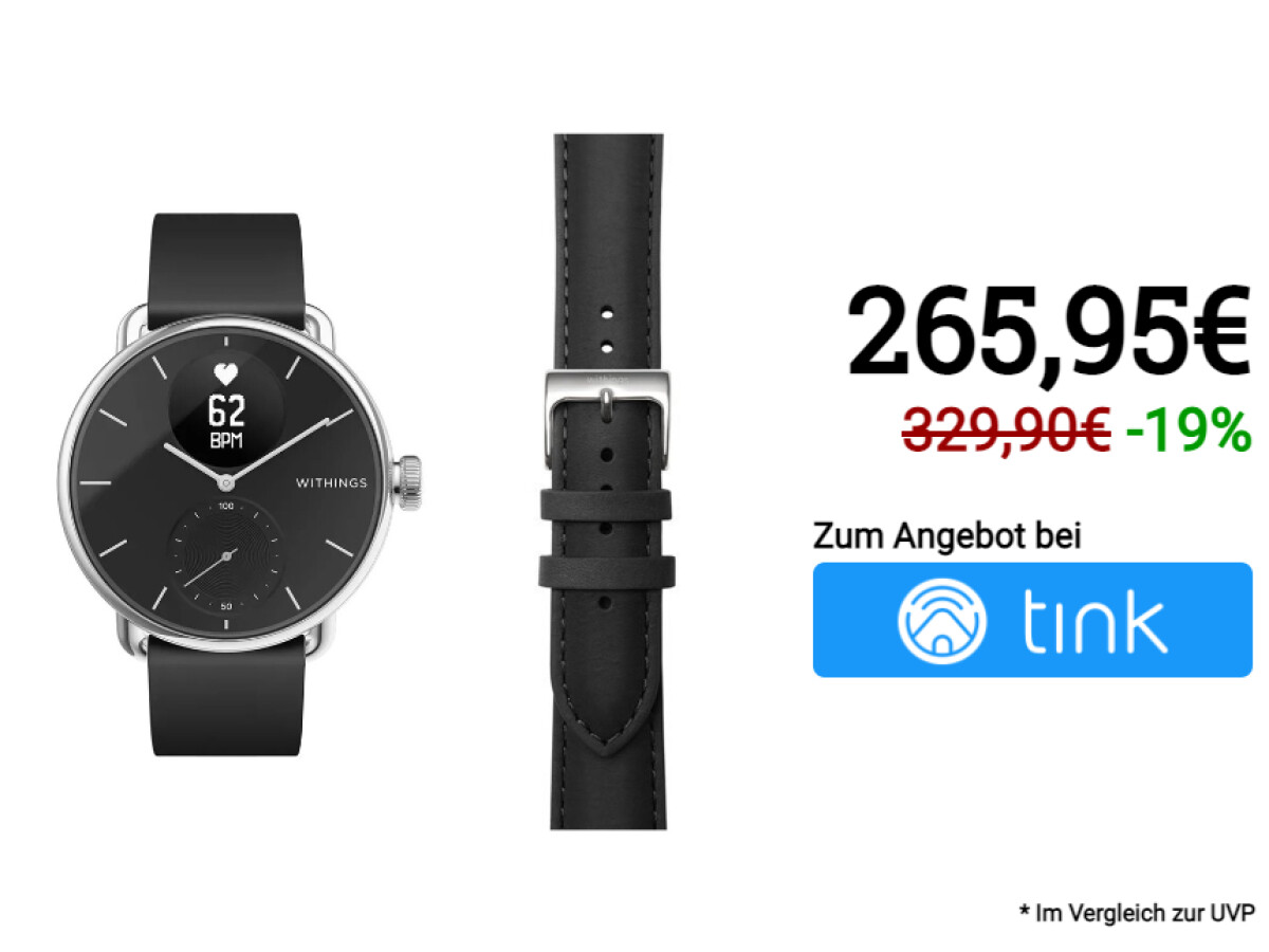 Withings ScanWatch 38mm + gratis Withings Activité Leder-Armband 18mm