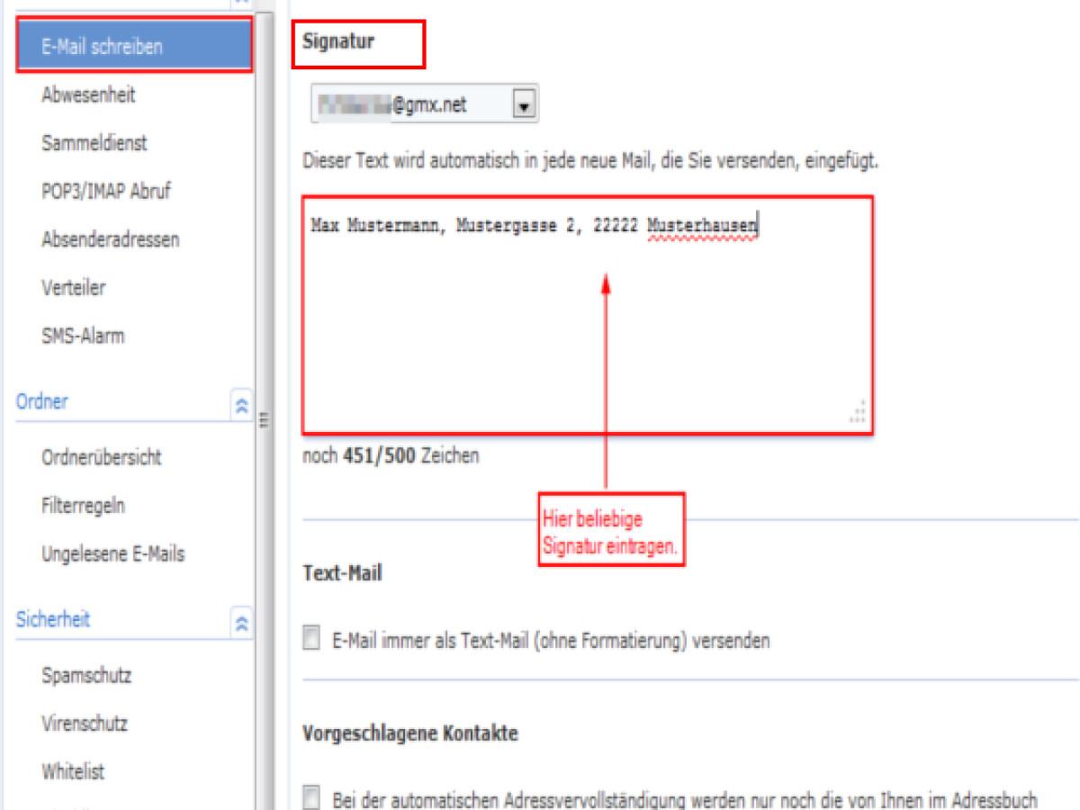 App vorgeschlagene email adressen löschen gmx Gmx email