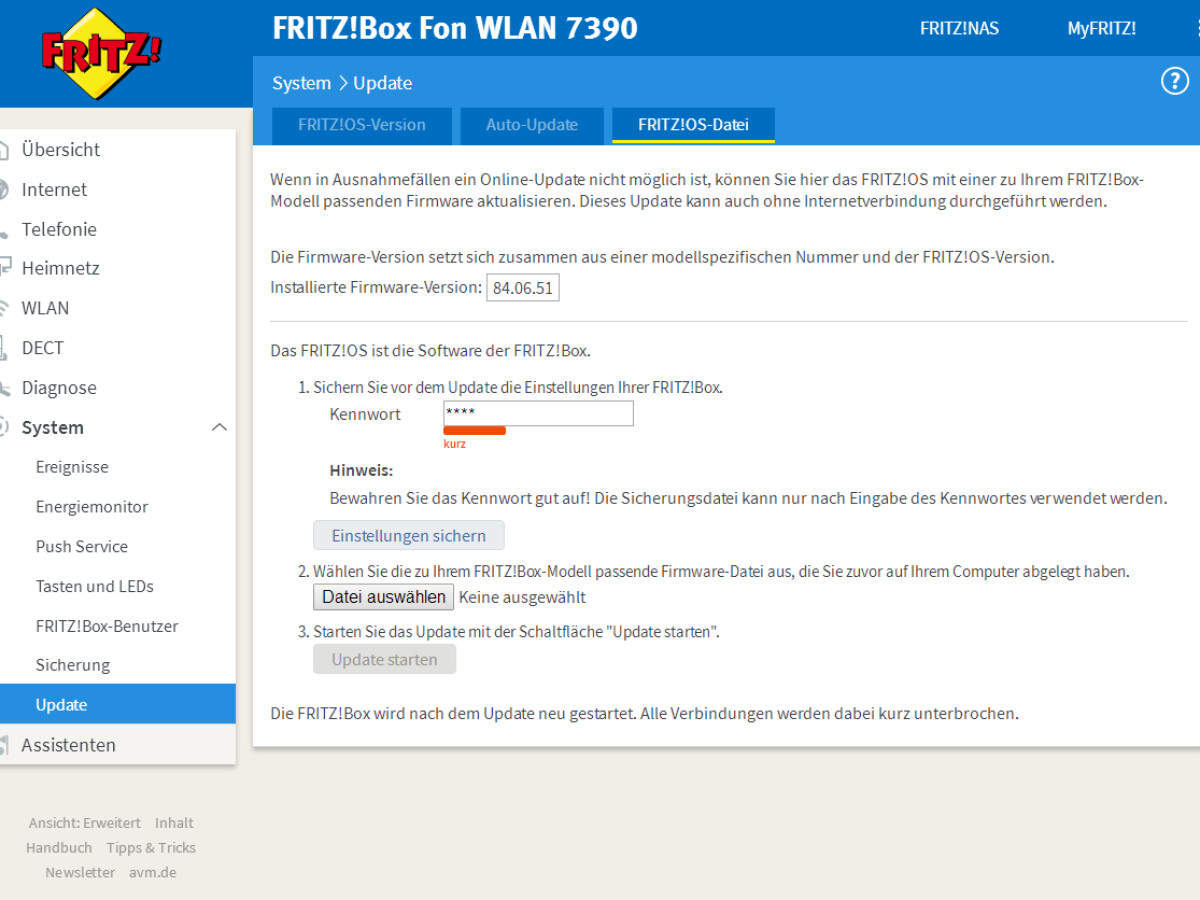 FRITZBox Firmware Update automatisch oder manuell aktualisieren ...