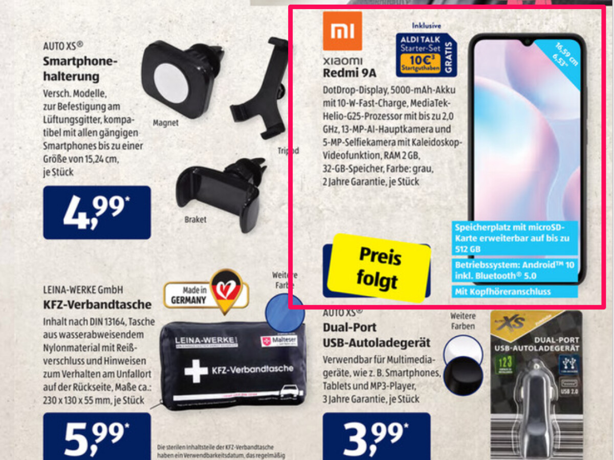 Aldi advertises the Redmi 9A without a price.