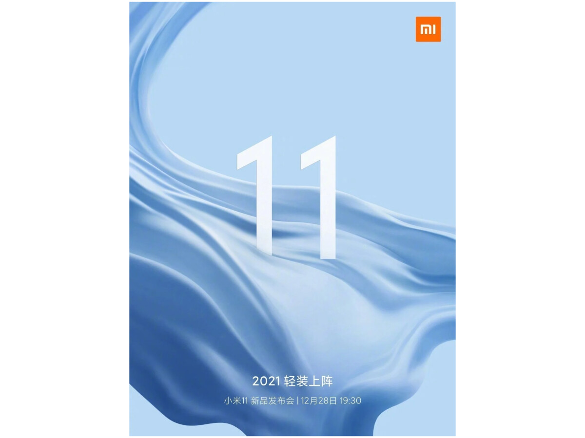Xiaomi announces the launch of the Mi 11 on Weibo for December 28th.
