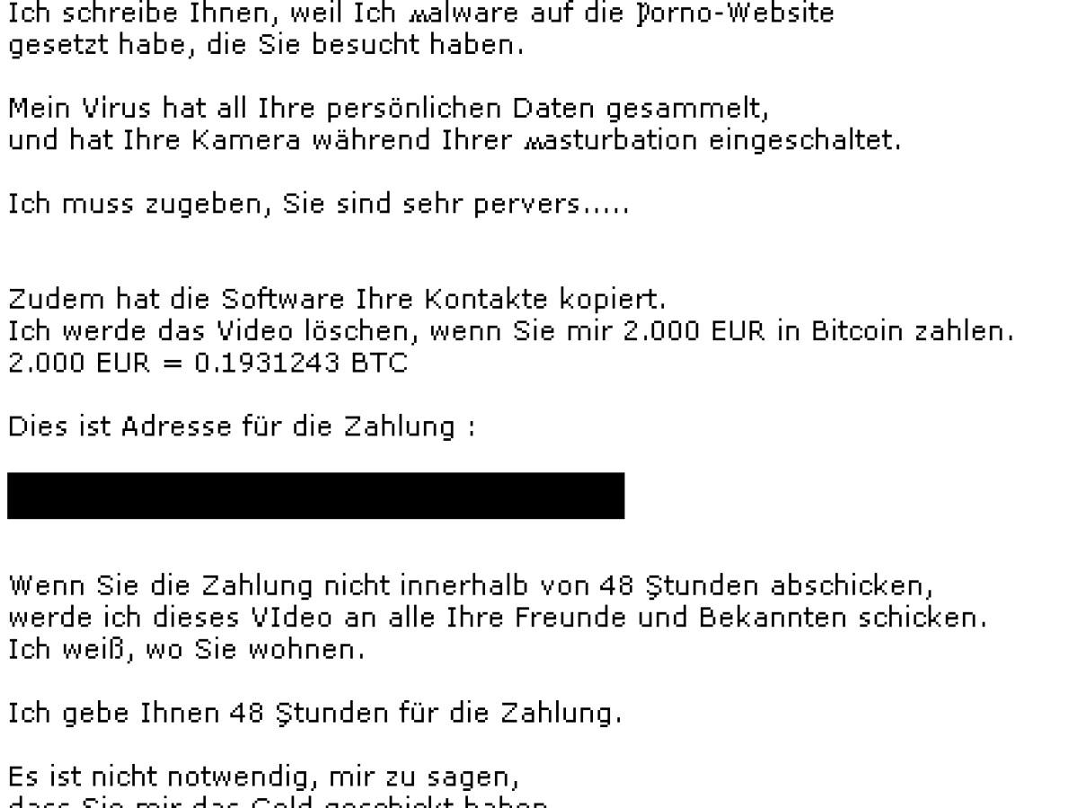 email drohung bitcoin