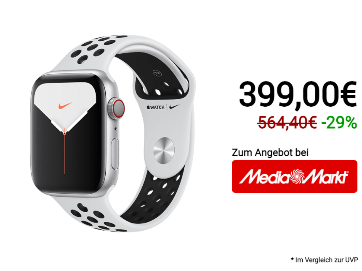 The Apple Watch Series 5 is heavily discounted in the Nike Edition at Media Markt.