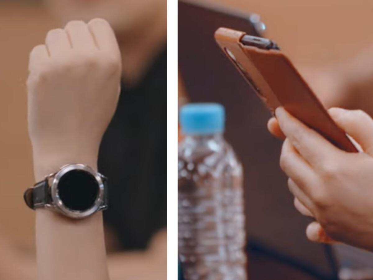 El Samsung Galaxy Watch 4 se puede encontrar a la izquierda y el Z Fold 3 a la derecha.
