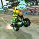 Yoshi macht einen Wheeli.