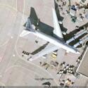 Eine 747 am Finger in Frankfurt am Main