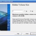 Wie groß das versteckte Volume sein kann, hängt von Platz des normalen Volumes ab. Da sich einige Pseudo-Dateien im ersten Volume befinden sollen, tut hier etwas Luft nach oben gut.