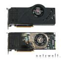 Wie gehabt ist der derzeit stärkste Vertreter der GeForce 8800-Serie eine regelrechte Monströsität - mit einer Länge von 27 Zentimetern überragt er selbst ausgewachsene Mainboards um ein gutes Stück. Die vorliegende GeForce 8800 Ultra von Asus entspricht bis auf einen kleinen Sticker am Lüfter dem Referenzdesign von Nvidia.