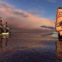 Piraten im Anmarsch. Obwohl das Schiff der Engländer größer ist, heißt das nicht das man gewinnt.