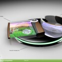Ein kompakter, tragbarer PC bestehend aus rollbarem Display und Armband mit den digitalen Informationen.