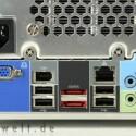 Weitere vier USB-Anschlüsse, Ethernet, FireWire, eSATA und VGA-Out sowie HD-Audio warten auf der Rückseite.