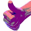 Hand nach Posterisierung und starken Konrast- und Farbwertänderungen
