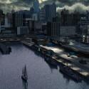 New York unter einer dunklen Wolkenschicht.