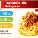 Bereits vor dem eigentlichen Kochen gibt es Informationen zu Dauer und Kalorien.