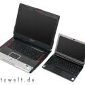 Größenvergleich: rechts das Sony Vaio TZ, links ein aktuelles 17-Zoll-Notebook.
