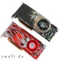 Mit 740 Megahertz taktet der Grafikprozessor des HD 2900 XT (GPU) deutlich schneller, der Speicher mit 825 Megahertz wiederum etwas langsamer als beim GeForce 8800 GTX.