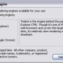 Beim ersten Start von Lunascape kann man sich für eine Engine als Standard entscheiden.