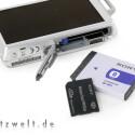 Lithium-Ionen-Akku und Sony Memory-Stick sorgen für Strom und Speicherkapazität.