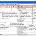 Funktionen für ZIP-Archive und das Bearbeiten von Ordnern sind in der Toolbar
