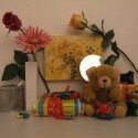 Zimmerbeleuchtung ein, Blitz aus: ISO 800, Blende 4.0, 1/90 Sekunde.