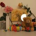Zimmerbeleuchtung ein, Blitz aus: ISO 800, Blende 3.7, 1/110 Sekunde.