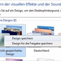 """Zum Abschluss markiert der Anwender das eigene Thema mit einem Rechtklick auf den als """"Nicht gespeichertes Design"""" bezeichneten Eintrag und benennt es nach einem Klick auf """"Design speichern""""."""