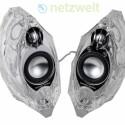 Das aktive Lautsprecher-System GLA-55 von Harman Kardon sieht auf den ersten Blick aus wie eine Eisskulptur.