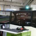 3D-Ansicht auf drei Monitoren nebeneinander - Shutterbrille nötig.