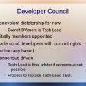 Das Gremium der Entwickler wird im Moment noch vom Projektleiter Garrett D'Amore beherrscht, damit Illumos sicher starten kann. (Bild: Illumos-Präsentation)
