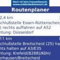Der Routenplaner zeigt nur den Verlauf der Straßenführung an. Dafür kann der Nutzer in dieser Ansicht auch freie Startadressen wählen.