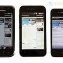 Das Nova-Display ist heller als Samsungs Super-AMOLED-Display (links) und Apples Retina-Display (rechts). (Bild: netzwelt)