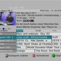 Das Menü des elektronischen Programmführers ist gut lesbar und zeigt die aktuellen Sendungen von sechs Kanälen gleichzeitig an. (Bild: netzwelt)